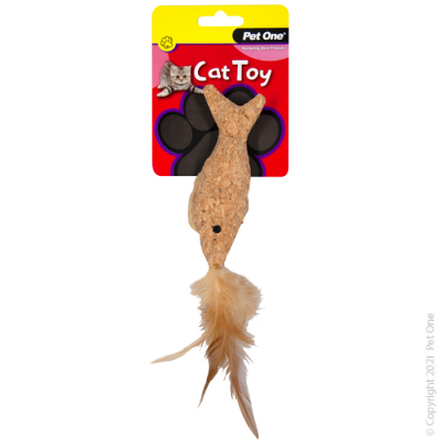 14CM Plush Cork Fish with Feather Cat Toy