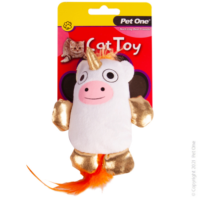 10.5CM Plush Moonicorn with Feather Cat Toy