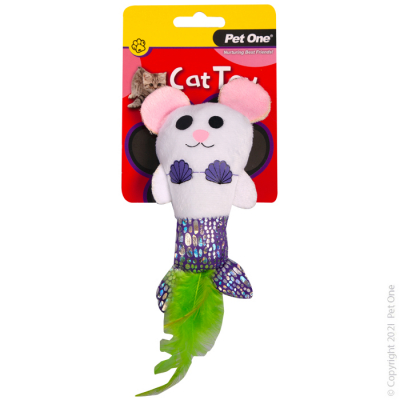 14CM Plush Mermouse with Feather Cat Toy