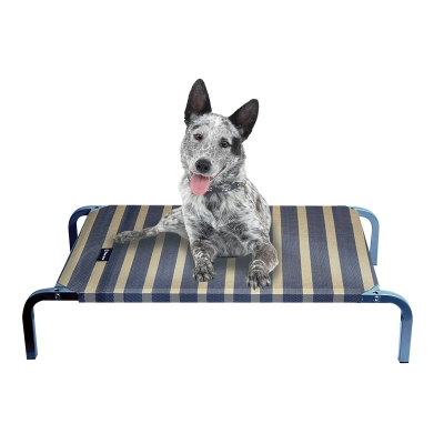 Leisure Raised Dog Bed - Charcoal/ Wheat Stripes