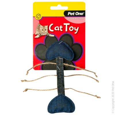 14.5CM Grey Blue Fish Skeleton Cat Toy